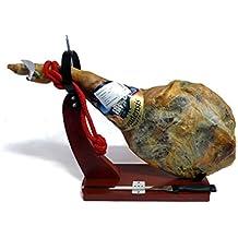 4,75kg Serrano-Schinken-Set mit Halter und Messer, Paleta Serrana Vorderschinken, +10 Monate Reifezeit, ohne Zusatzstoffe, geringer Salzgehalt