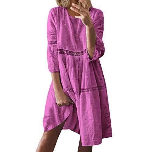 Robe de Cocktail Femme Courte Grande Taille, Robe Ete Femme Courte Boheme Manche Courte Col U Sexy Robe de Plage Casual Impression Floral Robe de Mariée Vintage Boho Mini Robe