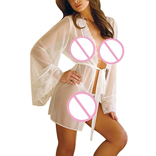 Damen Reizwäsche Elastische Spitzen Unterwäsche mit Strumpfhaltergürtel-Dessous in Übergröße Lace Sleepwear Gürtel Dessous Versuchung Unterwäsche Mantel