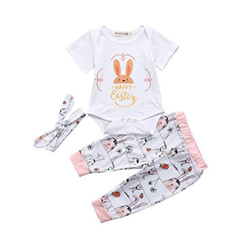 Outfits Sets Janly 0-18 Monate Mädchen Kaninchen Strampler Hosen Stirnbänder Frohe Ostern 3 Stücke Infant Baby Anzüge (3-6 Monate, ()