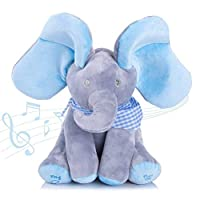 Abester Singing will fan the ears cute Elephant Plush Soft Toys Peek A Boo Pal Animated Sound Toys Baby Kids Children Doll Christmas Birthday Gift (Blue)