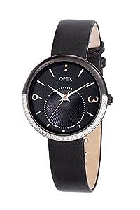 Opex - Reloj de cuarzo para mujer, correa de cuero color negro de Opex