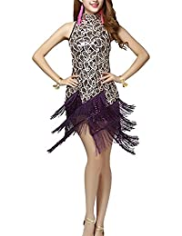 Dayiss Damen Paillette Quasten Swing Tanzkleid Sexy Partykleid Halfter Schulterfreies Samba Rumba Latein Gesellschaftstanz Kleid Dance dress