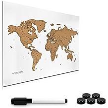 Navaris tablero de notas de para rascar - pizarra magnética con mapa del mundo 60x40 cm - en diseño de mapamundi - con imanes marcador y soporte