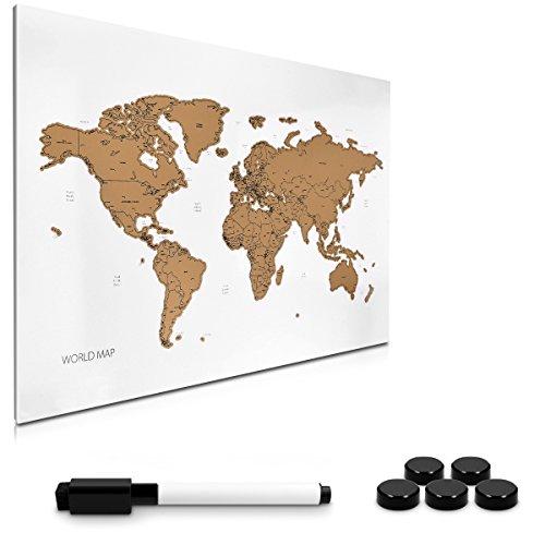 Navaris lavagna magnetica da grattare - lavagnetta bianca 40x60 cm con magneti pennarello - bacheca bianca scratch world map con calamite ganci