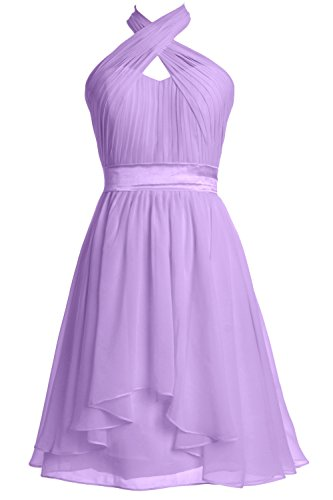 MACloth Women Halter Short Bridesmaid Dress Chiffon Cocktail Party Formal Gown (Custom Size, Lavendel) (Womens Bras Lavendel)