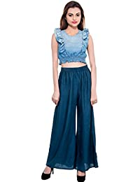 CAY® Blue Color Solid Stylish Plazzo With Elastic Waist And Two Pockets Western Wear ( SIZE : FREE SIZE )