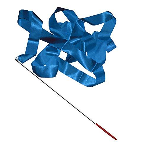 Buntes Band mit Stab für rhythmische Sportgymnastik, Tanz, Fitnessstudio, Luftschlangenstab, Länge: 4 m, blau, Einheitsgröße