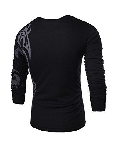 Legou Herren Langarmarm T-Shirt Casual Shirt Rundhals Drucken T-Shirt Weiß