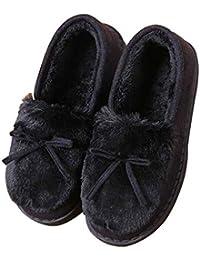 Di Cotone In Pelle Pantofole Nastro Casa Interni Ed Esterni In Legno  Pavimento Caldo Ispessimento Antiscivolo b742d1e938f