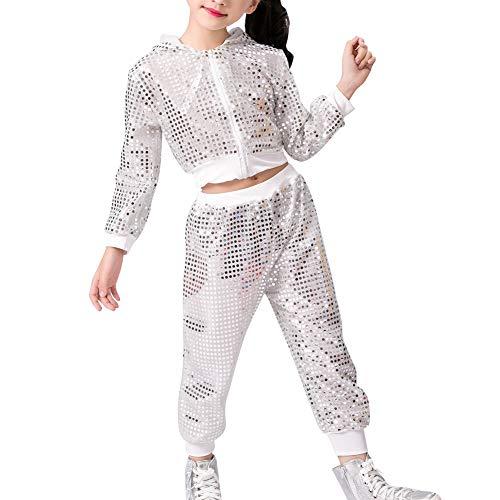 Tenthree Kinder Mädchen Pailletten Kleidung - Tanzsport Bühnenkleidung Streetwear Party Kostüme Kinder Jungen Sets Sport ()