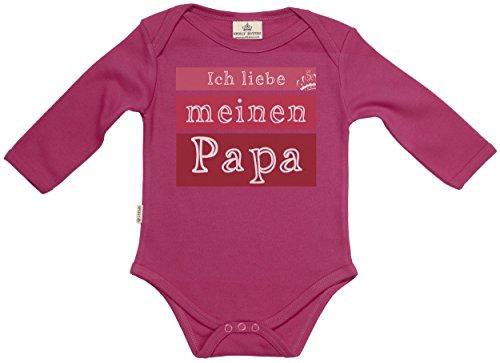 Ich liebe meinen Papa Baby Body - Baby Spieler - Baby Geschenk in Milchtüte - Rosa, 6-12 Monate