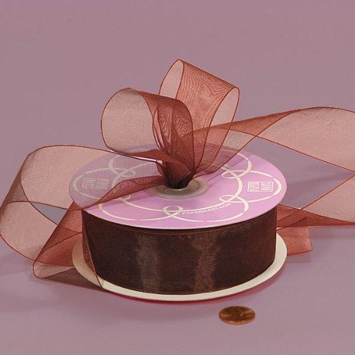 Chocolate Brown Shimmer Sheer Organza Ribbon, 1/4 X 25Yd by DPC -
