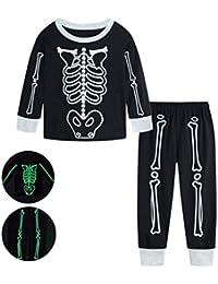 Reciy Jungen Halloween Schlafanzug Mädchen Baumwolle Langarm Pyjama 2 Stück Pajama Sets Nachtwäsche Schädel Kürbis PJS