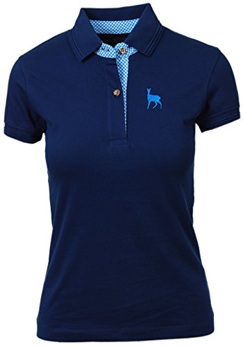 Trachtenpolo-Shirt Damen, Pique-Baumwolle und Elasthan, Polo-Shirt in tannen-grün, mit Hirsch-Stick rosa, alle Größen (M, Blau)