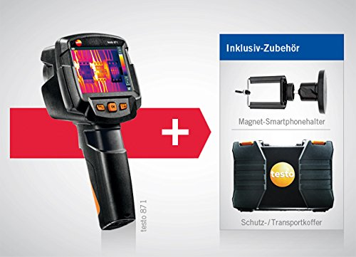 térmica de cámara Testo 871con módulo de radio Bluetooth/WiFi, maletín, incluye maletín y kleinsc hmidt GmbH magnético de soporte para smartphone