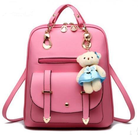 HQYSS Borse donna Ragazza alla moda spalle studente coreano di capacità grande zaino , light gray pink