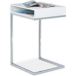 Relaxdays 10020361_49 Beistelltisch, Metall, Holz, zum Unterschieben, Ablage, Wohnzimmertisch, Laptoptisch, HxBxT: ca. 61 x 37 x 38cm, weiß
