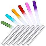 Flying swallow 6 couleurs limes à ongles en cristal, pour manucure et pédicure, avec étuis argentés