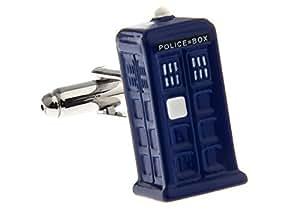Boutons de manchette bleus Doctor Who Tardis avec Alfred & Co. Boutons Box
