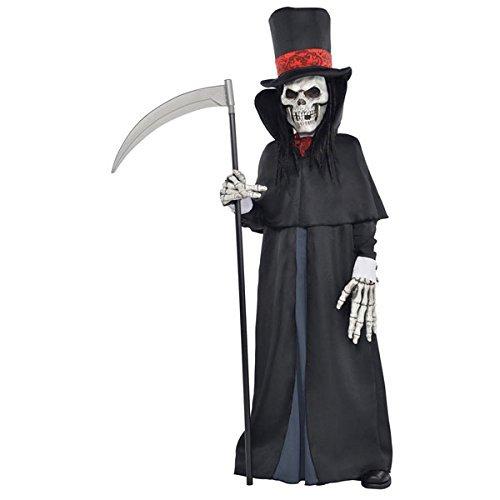 Amscan international 999 475 - costume per travestimento da scheletro della morte, con falce e cappello, bambini, 8-10 anni