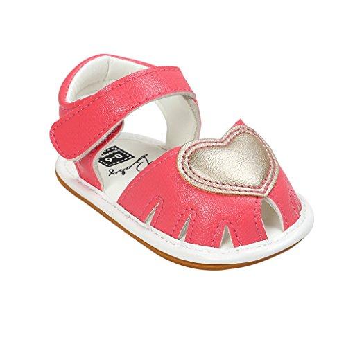 Baby Schuhe Auxma Baby Mädchen Frühling Sommer Prinzessin erste Wanderer Schuhe Sandalen für 3-18 Monate (3-7 M, Gold) Rot