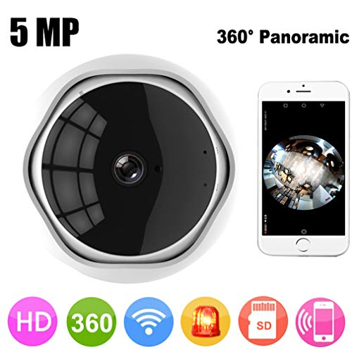 CARDVR 5MP Telecamera IP Fish Eye panoramica a 360 Gradi Telecamera Multiuso WiFi Night Vision App Telecomando Wireless P2P IP Web (Senza Scheda)