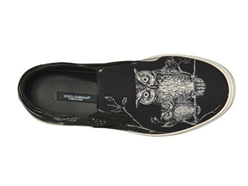 Slips-on Dolce & Gabbana homme en cuir et tissu noir - Code modèle: CS1365 AR265 8Q811 Noir