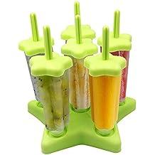 Stieleisformen   Lunaoo 6er-Set Eis am Stiel Formen Lutscher Eisformen mit Reinigungsbürste   aus 100% Lebensmittelsilikon 100% BPA Frei   Ideal für DIY Selbstgemachtes Eis