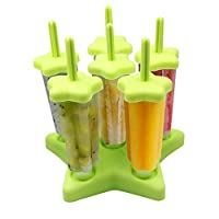 Popsicle Molds 6 Pieces Ice Pop Lolly Maker with Cleaning Brush BPA Free Great Kitchen ...
