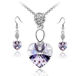 Sparkling_Crystal Swarovski Elements Violet Tanzanite coeur de cristal plaqué d'or blanc boucles d'oreilles en alliage & pendant de cristal autrichien pour les femmes ST48117