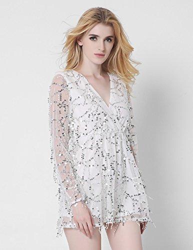 M-Queen Femmes Combishort Paillettes Bohême Mini Robe de Plage Clubwear Overall Rompers Jumpsuit Court Shorts Playsuit Blanc