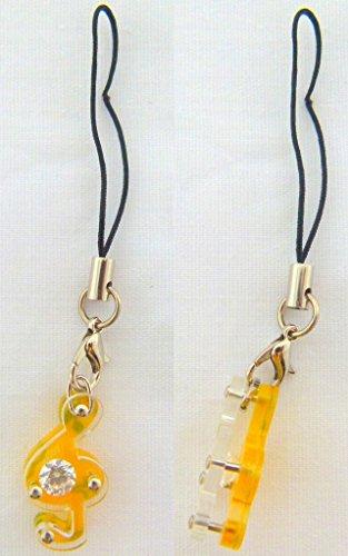 Musica a tema giallo Chiave di violino con Diamante Phone Strap / Dangly fascino del telefono