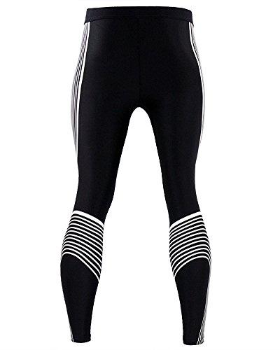 Uomo Compressione Fitness Elasticity Pantaloni Workout Calzamaglia Base Strato Essiccazione Leggings Bianco