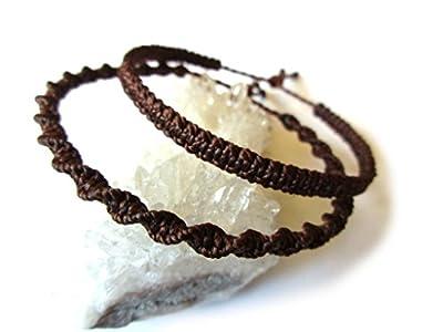 X2 Bracelets brésiliens/amitié/duo/bohème/unisexe/surf/en fil tissage plat et rond marron foncé tissés/tressés main en macramé avec du fil ciré. Waterproof et Ajustable. Réf.PP+PS515