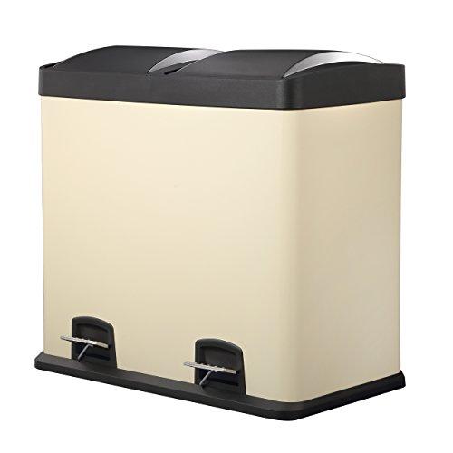 HARIMA - Cubo Basura Reciclaje Color Crema Con Pedal y Tapas De Plástico - Dual 48L Con 2 Compartimentos Extraíbles De 24L Para Separar Los Residuos