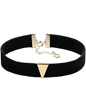 Epinki Damen Choker, Halskette Samtband Dreieck Stern Form Anhänger Tattoo Samtkropfband Gothic Halsband 31.8+...