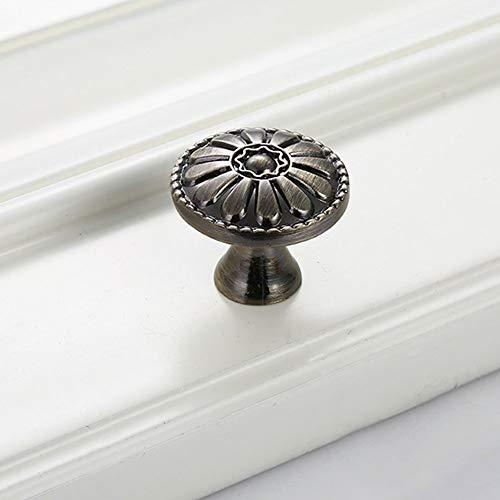 Bclaer72 4er Pack Euro Style Küchenschrank Knöpfe Pull Button - Vintage Schublade und Kommode Runde Griffe - Antik Bronze Floral für rustikale Wohnkultur (Für Rustikale Knöpfe Kommode)