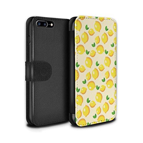 Stuff4 Coque/Etui/Housse Cuir PU Case/Cover pour Apple iPhone 7 Plus / Citron/Bleu Cercles Design / Mode Jaune Collection Charmant Citrons