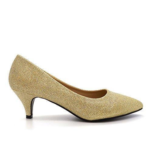 London Footwear ,  Damen Durchgängies Plateau Sandalen mit Keilabsatz Gold