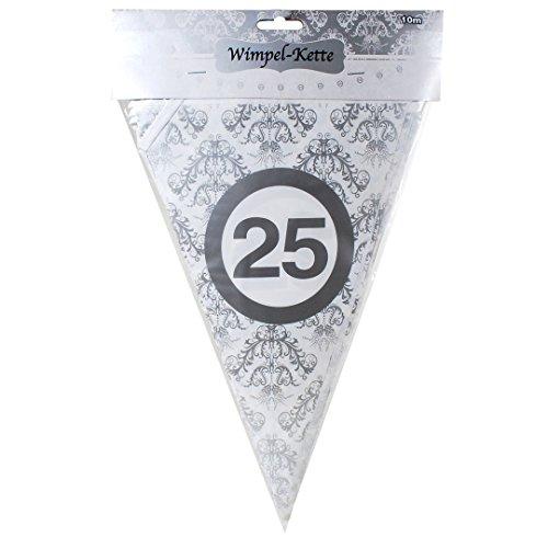 silberne Girlande zur Silbernen Hochzeit oder zum 25. Geburtstag Wimpelkette mit 15 Wimpel und 10m lang Dekoration zur Silberhochzeit Geburtstag Jubiläum Party oder andere Anlässe ()