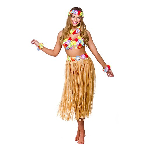 Damen Hawaii Party Kostüm 5pc Kostüm Outfit für Hawaiian Kostüm Erwachsene (Hawaiian Kostüm Für Party)