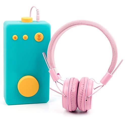 DURAGADGET Casque Rose Enfant Compatible avec Lunii, ma Fabrique à Histoires - Repliable + Microphone intégré