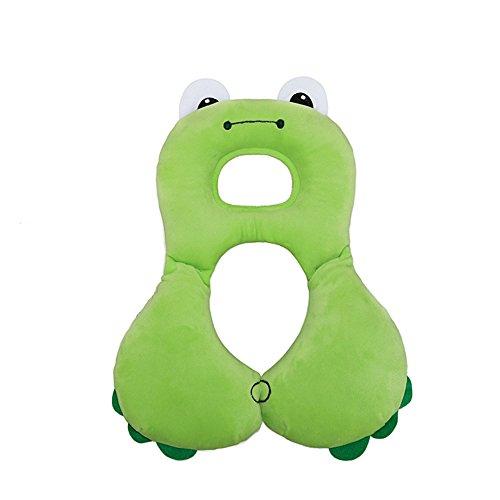 Preisvergleich Produktbild Inchant Baby-Kopfstütze und Nackenstützkissen, Säuglings Bequeme Kinderwagen Kopf Unterstützung Reisen Autositzkissen (Green Frog)