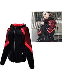 POUREVE Running Chaqueta Mujer, Sudadera con Capucha Mujer Jacket Deportiva Ropa Zip Manga Larga,