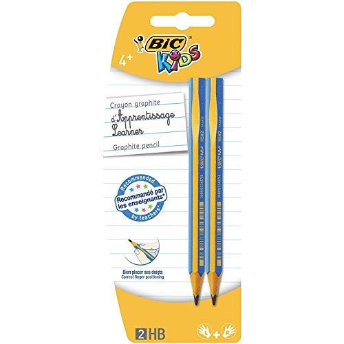 BIC Kids Bleistifte für Kinder ab 4 Jahren unterstützen die Schreibhaltung - für Links- & Rechtshänder - Blister à 2 Schreiblern Bleistifte