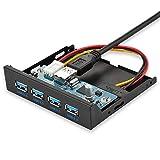 ELUTENG Front Panel USB 3.0 Super Speed 4 Ports Frontpanel USB3 für 3.5 Zoll Diskettenlaufwerk PC Frontplatte mit 60cm Adapterkabel USB Hub Intern