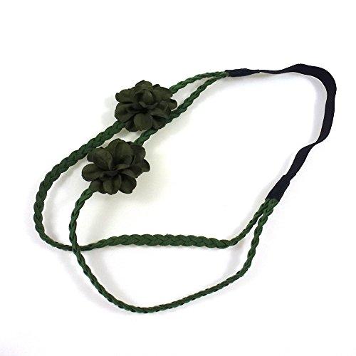 rougecaramel - Accessoires cheveux - Headband/bandeau/serre tête tressé double rangs avec 2 fleurs en cuir - vert