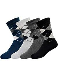 ARKYLE Men's Cotton Full Length Cushion Socks, Pack of 4 (Multicoloured, Free Size)