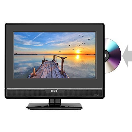 HKC 13M4C 13.3 inch (33.68 cm) LCD Fernseher FHD with DVD Player (Triple Tuner, DVB-T2/S2/T/S/C, CI+, H.265/HEVC. 230V/12V, 12 Volt Vehicle Charger Included, USB2.0, PVR/Timeshift Ready)